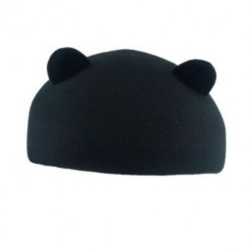 Black Wool Blend Beret with Cat Ear