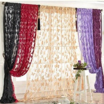Door Curtain Window Butterfly Pattern Tassel String Room Curtain Divider Scarf [8426461511]