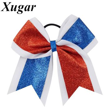 1 Piece 7 '' Large Glitter Cheer Bow Shiny Red White Blue Patchwork Cheerleading Bow American 4th of July Girls Hair Accessories