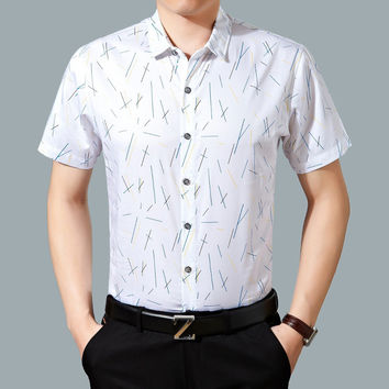 Summer Cotton Print Shirt Men Short Sleeve Blouse [6544594947]