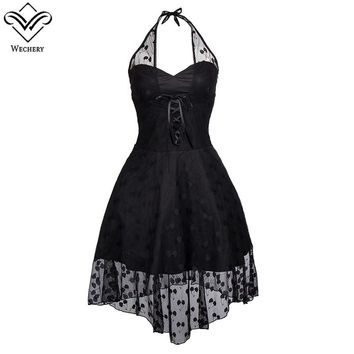 Wechery Women Steampunk Corset Sexy Gothic Corselet Black Lace Dot Gorset Dresses Halter Backless Sexy Party Dresses Fashion Top