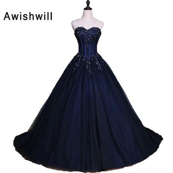 Custom Made 2018 Long Prom Dresses with Lace-up Back Beading Appliques Tulle Puffy Formal Ball Gown Evening Party Dress Vestidos
