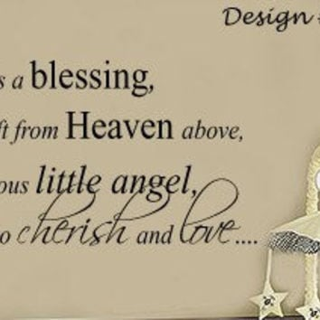 a Baby is a Blessing from Heaven Nursery Vinyl Wall lettering Sayings Decal