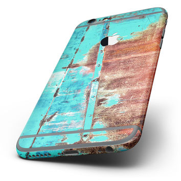 The Bright Turquoise Rusted Surface Six-Piece Skin Kit for the iPhone 6/6s or 6/6s Plus