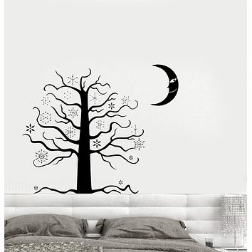 Wall Decal Night Moon Tree Snowflake Fairy Tale Bedroom Vinyl Stickers Unique Gift (ed460)