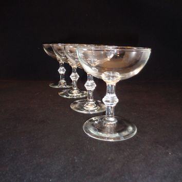 Set of 4 Spindle Stem Champagne Coupes