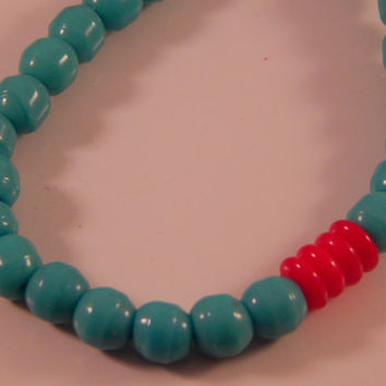 Glass Turquoise and Coral Bracelet, tribal boho jewelry trends, PanIndian Jewelry Accessory, Native American Metis Made -minimalist style