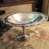 Rogers Sterling Silver Compote, Ornate Raised Floral Design, Silver Candy Dish, Footed Silver Compote, Silver Bowl on Pedestal,