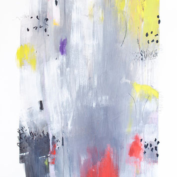 Large XL Abstract Painting on paper Original Art 26x39 acrylic grey red yellow contemporary art