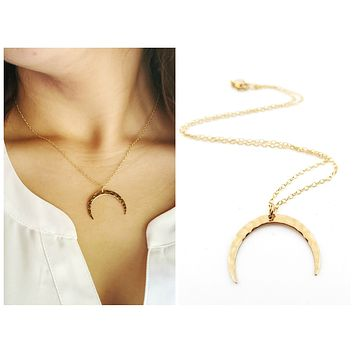Hammered Crescent Moon Necklace - Dainty 14k Gold Filled Jewelry