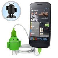 Andru Android Robot USB Cell Phone Travel Charger- Retail Packaging - Dark Edition