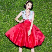 Red Patchwork Pleated Lace-up Sexy High Waisted Plus Size 1950'S Vintage Midi Dress