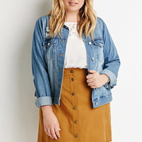 Plus Size Button-Front Textured Skirt