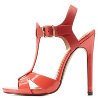 Coral Texture Block T-Strap Heels by Charlotte Russe