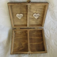 Rustic Stained Aged Woodland Vintage Skeleton Key Heart Wedding Ring Bearers Box