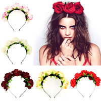 Handmade bride floral flower crown rose headband hair garland festival wedding hair accessories hairbands