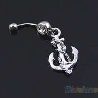 Bluelans Nautical Anchor with Rope BELLY NAVEL BUTTON RING 14G Bar
