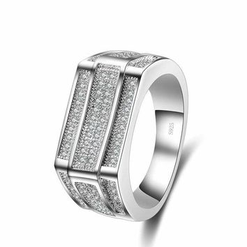 925 Sterling Silver Wide Band Cubic Zircon Round Unisex Ring