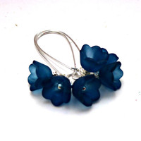 Cornflower blue flowers, Sterling silver earrings.