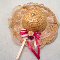 Summer, Straw, Doll, Pet, Miniature, Collectible, Hat, Dollhouse, Floral, Wall, Decor, Accessory, Clothing, Fashion, Rose, Small, Fascinator