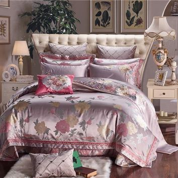 Silk Cotton Luxury Satin Oriental Jacquard Bedding Set Queen King size Wedding Bedding Sets Bed Sheet/Spread Set Duvet Cover