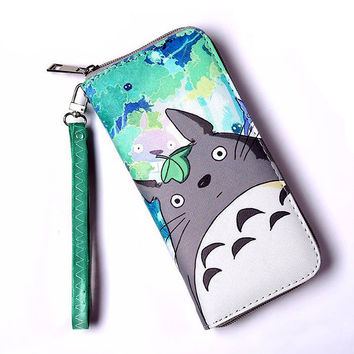 Men and Women Famous Brand Leather Anime Totoro Character Wallet Long Zipper Printing Thin Simple Wallet Cell Phone Purse