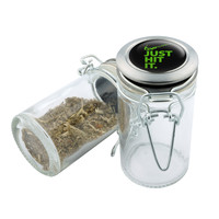 Glass Stash Jar -  Just Hit it - 75ml Storage Container - Secret Stash Box for Custom Herb Grinder - Stay Fresh Herbs 1/6 oz.