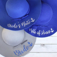 Bride - Mate Of Honor - Bride's Mate // // Floppy Hat - Nautical Bachelorette Party - Cruise Bachelorette Party - Yacht Bachelorette Party