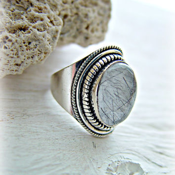 Crystal Quartz Ring - Tourmalinated Quartz Ring - Boho Crystal Ring - Boho Quartz Ring - Boho Jewelry - Quartz Jewelry