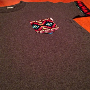 Custom Aztec Sleeve Cuffs Regular Crewneck Pocket Tee Sizes: Unisex Adult Small, Medium, Large, Extra Large