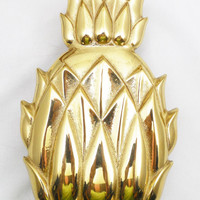 "Virginia Metalcrafters Polished Brass Pineapple Door Knocker 6 1/4"", Historic Newport Reproduction with Original Box"