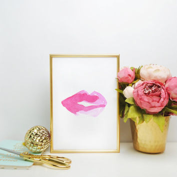 PINK LIPS Home Decor Pink Lips Decor sexy Lips Wall Decor Kiss art Fashion Lips poster Lips Print Watercolor Lips Art Lips Art Lipstick mark
