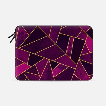 "Purple Stone / Gold Lines Macbook Pro 15"" sleeve by Elisabeth Fredriksson 