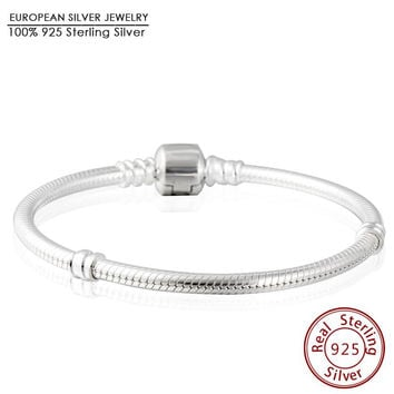 Luxury 100% 925 Sterling Silver Charm Bracelets For Women Brand Hallmark Clip Clasps Snake Chain Bracelets Fit Beads Charm DIY