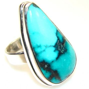 Stunning Turquoise Solid 925 Silver Ring