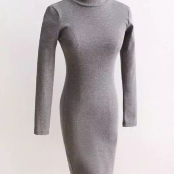 FREE SHIPPING Autumn winter outfit new xiushen paragraph small high collar long sleeve thread package hip dress