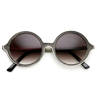 Womens Designer Premium Full Metal Ornate Engraved Round Sunglasses 9325