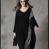 Women's Cotton Linen Dress Long Sleeve Autumn Spring Casual Loose Fitting Plus Size