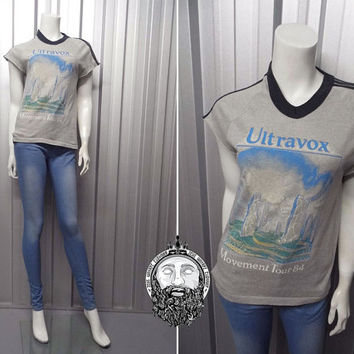 Ultra Rare Vintage 1984 Ultravox Tour T Shirt Movement Tour New Wave Synthpop Gary Numan Depeche Mode 80s Band Shirt Concert Art Rock Indie