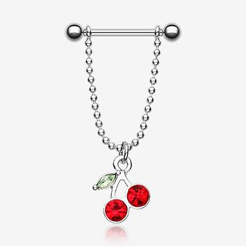 A Pair of Cherry Dangle Nipple Barbell Ring