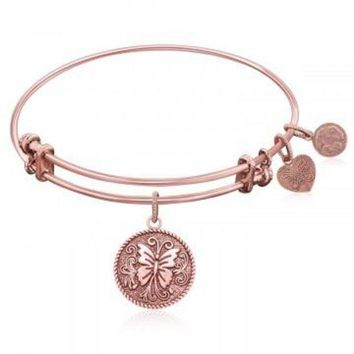 ac NOVQ2A Expandable Bangle in Pink Tone Brass with Butterfly Transformation Symbol