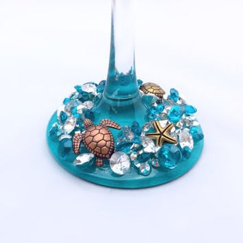 Seven Sea Turtle wine glass. Teal, silver, bling, diamond, turtle, ocean wine glass