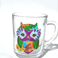 Hand Painted Mug - owl artist - Unique Artistic Gift - Dinner - Parties- cup - artist