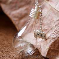 Nature Inspired Jewelry Real Dandelion Wish Pendant Silver Necklace Bridesmaid Gift (HM0062)