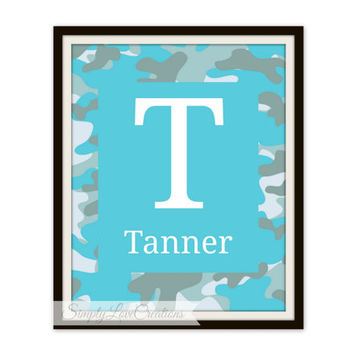 Name Print -  Camo Name Print - Hunting Nursery - monogram print - gift for baby shower - baby boy or girl Print - modern nursery art