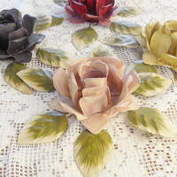 Vintage Shabby Chic/Cottage Style Candleholders, Set of 4, Taper, Victorian Roses Shabby Chic