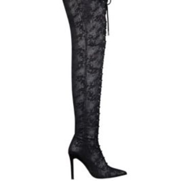 Nazzell Thigh-High Lace-Up Boots