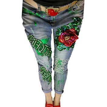 2016 Sequins Jeans Women Club Style Street Hole Ripped Floral Paint Stretch Jeans Denim Trousers Female Retro Beading Pants A244