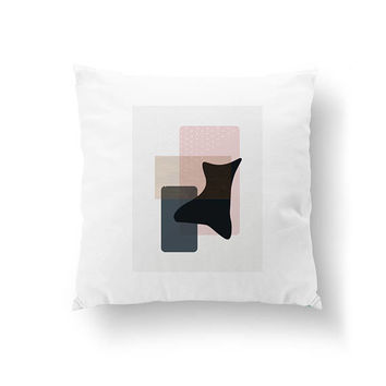 Textured Watercolor, White Pillow, Minimal Art, Pink Black Gray, Abstract Design, Decorative Pillow, Throw Pillow, Home Decor, Cushion Cover