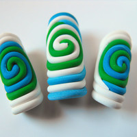 Spiral Dread Beads Set of 3 Dreadlock Beads Dreadlock Jewelry Denim Blue Green White